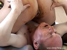 Skillful daddy is licking her nasty asshole