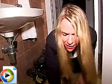 Blond toilet slut Isabel eating shit